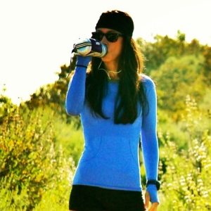 Lululemon LS Swiftly Tech top, Camelbak water bottle, Lululemon Bang Buster head band, Garmin 110
