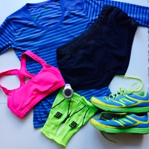 Oiselle, head to toe! Earn Your Stripes top, Lesko bra, Mac Rogas.